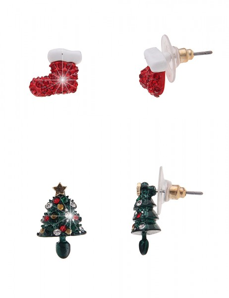 Leslii Damenohrringe Ohrstecker Christmas Look aus Metalllegierung mit Strass Größe 1,2cm und 1,7cm