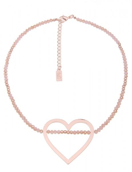 Leslii Damen-Kette Glanz Herz-Anhänger Herz-Kette rosa Glasperlen-Kette kurze Halskette Modeschmuck-