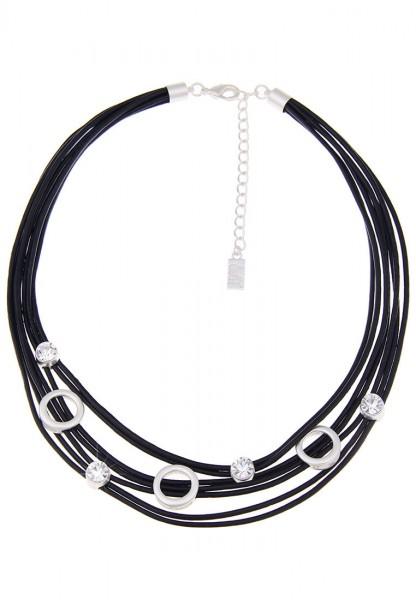 Kurze Halskette Bubble silber schwarz