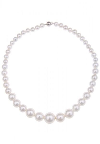 Leslii Hals-Kette Perlen Classic Weiß | kurze Damen-Kette Mode-Schmuck | 45cm + Magnet-Verschluss