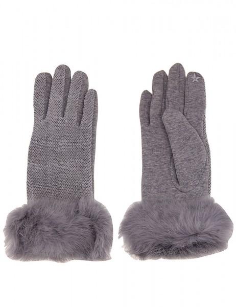 Leslii Damen Handschuhe Fake Fur aus Polyester mit Baumwolle Größe One Size in Grau