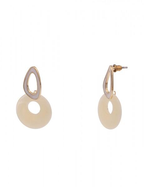 Leslii Damen-Ohrringe leichte Ohrhänger Statement-Ohrringe weiße Ohrringe goldene Modeschmuck-Ohrrin