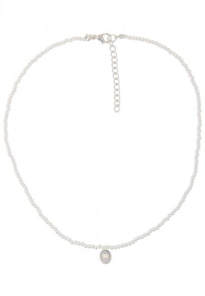 Leslii Damenkette Perlen Chic aus Kunstperlen mit Glasstein Länge 46cm in Weiß