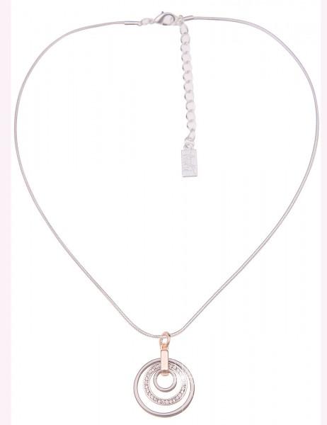 Leslii Damen-Kette Ring-Anhänger Tricolor Strass-Kette lange Halskette silberne Modeschmuck-Kette in